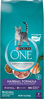 Purina ONE Hairball Control With Real Chicken High Fiber, Natural Adult Dry Cat Food