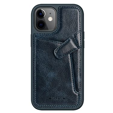 """Nillkin Case for Apple iPhone 12 Mini (5.4"""" Inch) Aoge Leather 360 Protection Elite Business Case with Soft Microfiber Lining & Internal Card Slot Blue"""