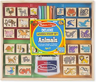 Melissa & Doug Deluxe Wooden Stamp Set, Animal Stamps (Colored Washable Ink Pads, Develops Hand-Eye Coordination, 38 Pieces, Great Gift for Girls and Boys - Best for 4, 5, 6 Year Olds and Up)