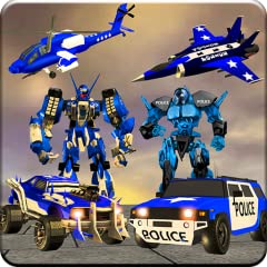 US-Police-Robot-War-Multi-Robot-Transformation features: Fully planned Police jet robot War for real Us Robot warrior. Police Robot fight for lovers of Best robot games for boys. Tang of Police Robot action games with Miami Police Robot shooting. Pol...