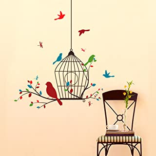 Amazon Brand - Solimo Wall Sticker for Living Room (Colourful Birds Flying ), Ideal Size on Wall: 80 x 85 cm
