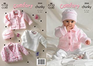 King Cole Comfort Chunky Knitting Pattern Childrens Jacket Sweater Cardigan & Hat 3044