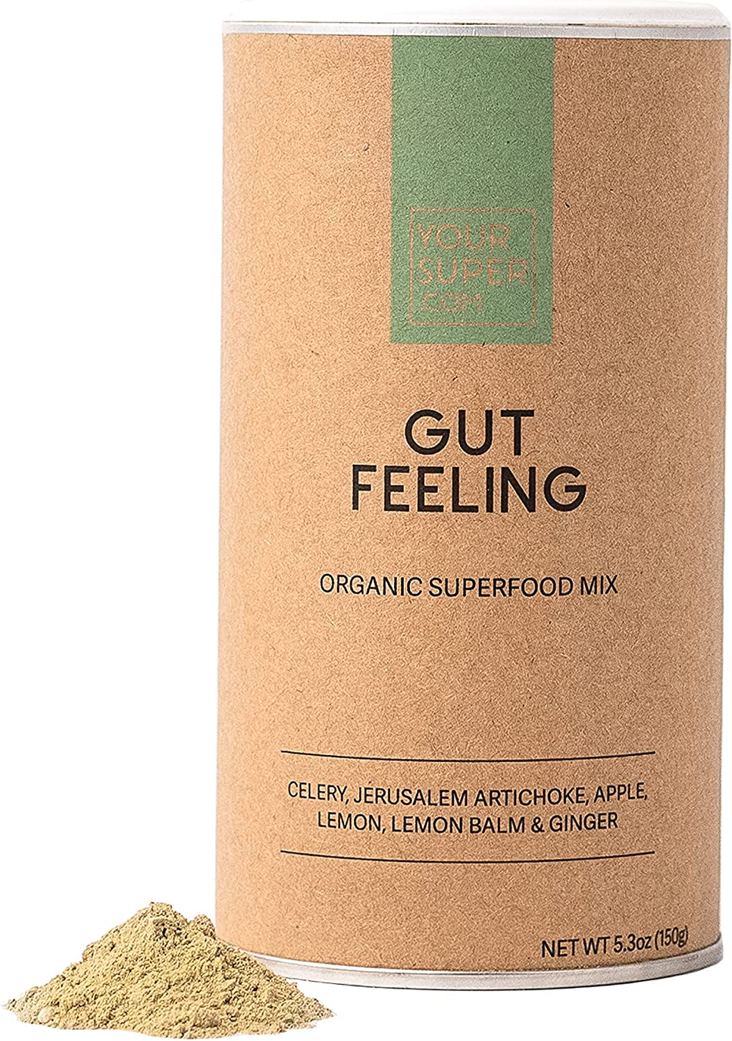 Your Super Gut Feeling Superfood Powder - Instant Celery Juice Powder, Prebiotics, Gut Health - Contains Digestive Enzymes, Dietary Fiber - 30 Servings