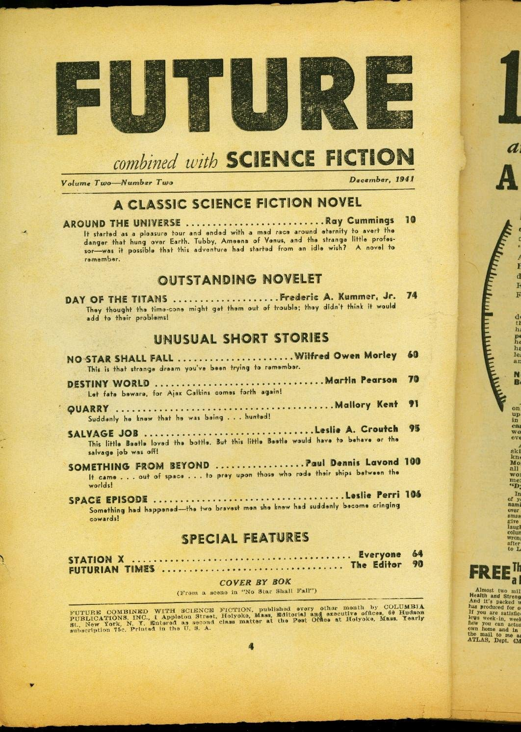 Future Pulp December 1941- Around the Colorado Springs Mall Ray Cummings Max 79% OFF Bar Universe-