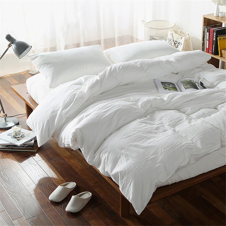 Lausonhouse Parure de lit 100 % lin de style vintage, Blanc, 200x200+2x80x80cm