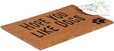 Relaxdays Doormat with Slogan, Hope You Like Dogs, Animal Theme, Coconut Fibres, Outdoors, Indoors, Welcome Mat 40x60cm, Natural, Coir, Standard