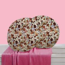 RADANYA Ikkat Digitally Polyester Printed Round Cushion Cover Pillow Case (16 Inches, Multicolour) -Set of 2