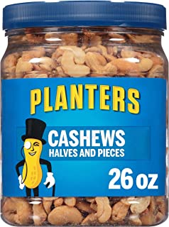 PLANTERS Cashew Halves & Pieces, 26 oz. Resealable Canister - Energy Snacks & Snacks for Adults - Shareable Snacks - Kosher
