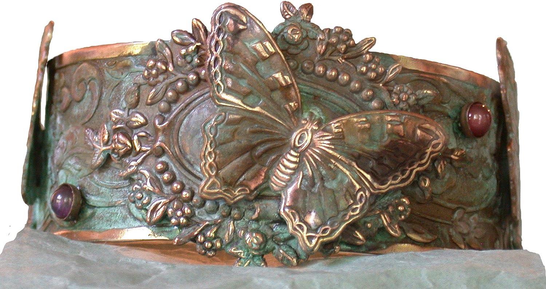 Verdigris Patina Victorian Butterfly Motif Cuff Bracelet - Ameth