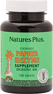NaturesPlus Papaya Enzyme - 6 mg Papain - All Natural Digestive Aid Supplement, Contains Amylase & Protease - 180 Chewable...