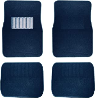 New Carpet Car Floor Mats 4 Pc Set for Cars Trucks SUVS with Heel Pad -Front and Rear Mats Universal Classic Matching Heel Pad (Blue)