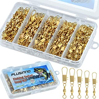 PLUSINNO 310Pcs Fishing Swivels Kit with Safety Snap Connector, High Strength Corrosion Resistance Stainless Steel Copper ...