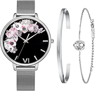 Kaifanxi Women Ultra-Thin Simple Quartz Watch Analog Dial Stainless Steel Case Stainless Steel Band