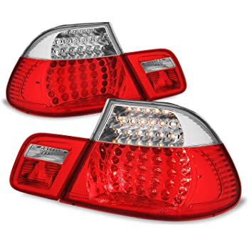 Red Clear LED Tail Brake Lights Fits 2003 2004 2005 2006 BMW E46 3-Series 325Ci 330CI M3 Coupe 2Door Left+Right Pair