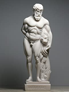 Alabaster Statue Hercules & Nemean Lion Skin Nude Male Sculpture Figurine 8.66''