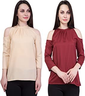 American-Elm Women's Crepe Tops-Set of 2