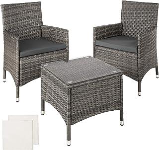 TecTake Conjunto Muebles de Jardín en Aluminio y Poly Ratan 2 Sillas Mesa + 2 Set de Fundas Intercambiables, Mobiliario Exterior, Patio Balcón Terraza, Nuevo