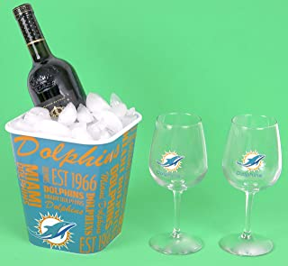 Miami Dolphins Wine Glasses with a combo ice bucket snack bucket.