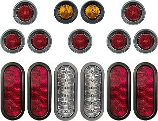 LED Light Kit For Trailers Trucks RV - Oval Stop/Turn/Tail Lights - Oval Reverse Lights - 2