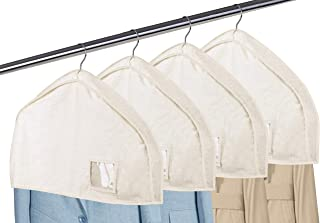 "MISSLO Cotton Shoulder Covers Garment Bags for Clothes 2"" Gusset Garment Dust Protectors with Clear Pocket for Suit, Coats..."