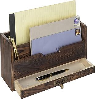 MyGift 3-Tier Coffee Brown Wood Office Desk File Organizer Mail Sorter Tray Holder w/Storage Drawer