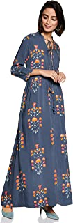 Amazon Brand - Myx Women's Floral Empire 3/4 Sleeve Dress