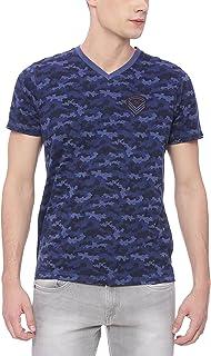 BASICS Muscle Fit Blue Camo V Neck T Shirt