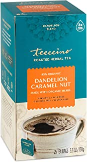 Teeccino Dandelion Tea – Caramel Nut – Rich & Roasted Herbal Tea That's Caffeine Free & Prebiotic with Detoxifying Dandeli...