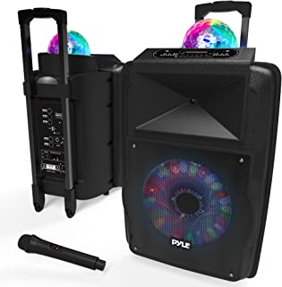 "Portable DJ Karaoke PA Speaker - Outdoor 700 Watt Stereo 12"" Subwoofer Built-in LED Lights Wireless Bluetooth Rechargeable Battery Audio Recording Mode & MP3/USB/Micro SD/FM Radio - Pyle PSUFM1280B"