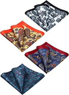 HISDERN 4 Pcs Mens Silk Paisley Floral Printed Pocket Square Handkerchief Hanky Set Wedding Party Gift
