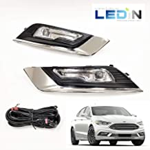 LEDIN Built-in LED Fog Lights for 2017-2018 Ford Fusion (OE Style Clear Lens with Switch, Bezels, Wires)