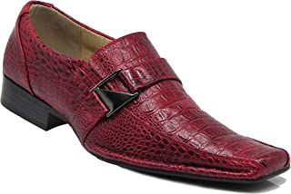 Enzo Romeo Santcro Men's Dress Crocodile Print Loafers Elastic Slip on with Buckle Fashion Shoes Runs Half Size Big