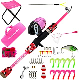 DaddyGoFish Kids Fishing Pole – Telescopic Rod & Reel Combo with Collapsible Chair, Rod Holder, Tackle Box, Bait Net and C...