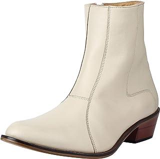 LIBERTYZENO Men's Side Zipper Ankle Boots Genuine Leather Cuban Heel Formal Dress Shoes