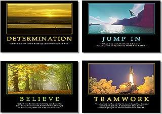 4Pcs x Motivational Quotes Motto Inspirational Success Teamwork Poster Fabric Prints Wall Photos 20x13