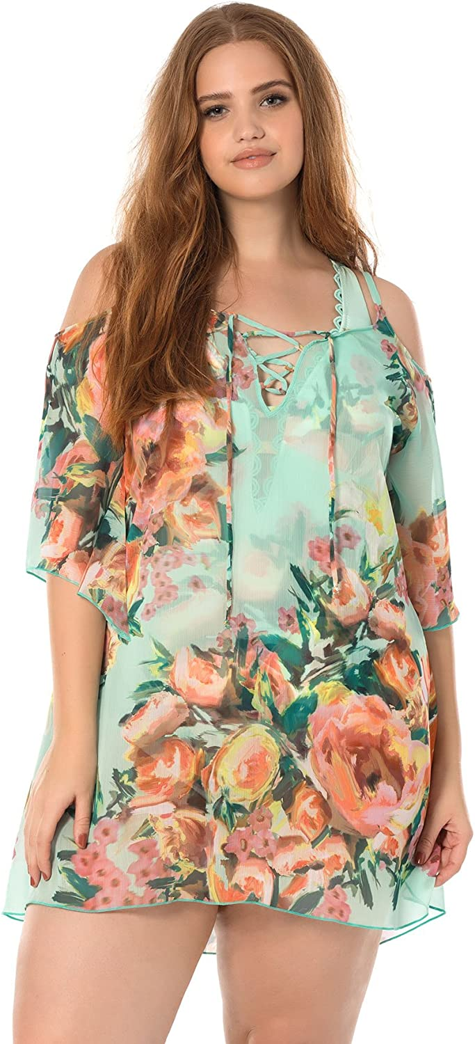 Becca Etc by Rebecca Virtue Women's Plus Size High Tea Tunic Swim Cover Up