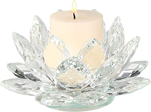 Dahlia Studios Clear Crystal 9 1 4 Wide Lotus Candle Holder