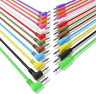 """ExcelValley - 12-Pack Cables de Conexión Mono Modulares Híbridos TS 3,5mm 1/8""""Eurorack Sintetizador Sintetizador [10cm 4""""]"""