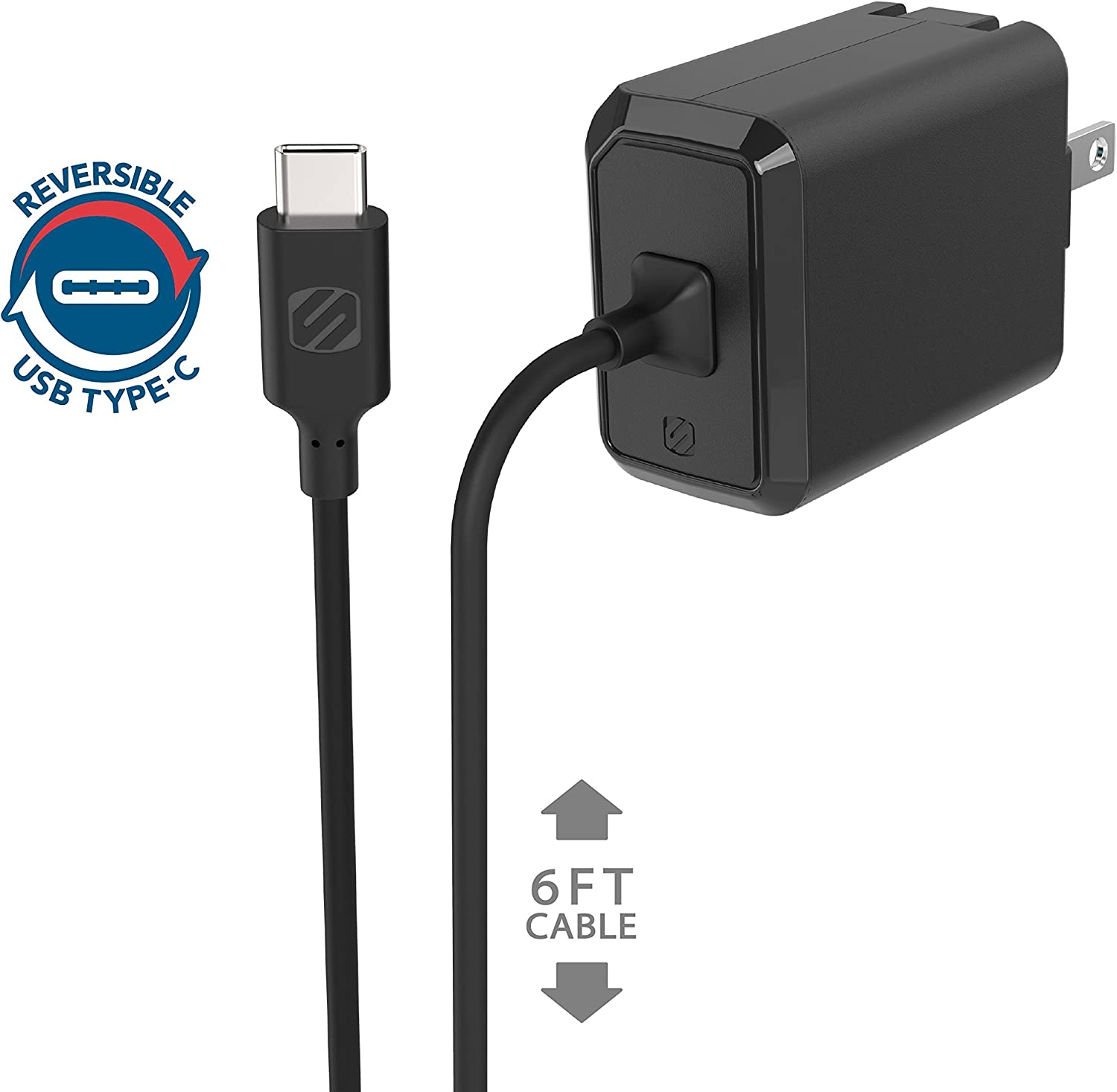 Black SCOSCHE CPDC8 PowerVolt 18W Certified USB Type-C Car Charger Power Delivery 3.0 for Standard USB-C Devices