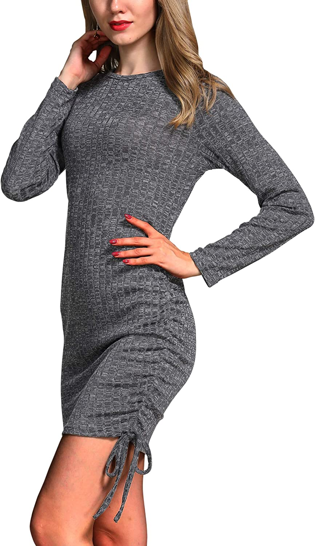 Hiblueco Women's Sexy Long Sleeve Bodycon Irregular Ruched Dress