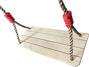 KINSPORY Outdoor Hanging Wooden Tree Seat Porch Swing Backyard Sets for Kids with Adjustable 71'' PE Rope