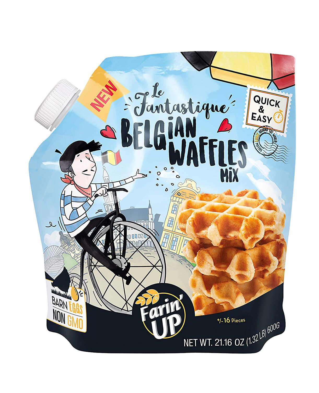 Le Fantastique Belgian Waffles Mix With Sugar Pearl. By Farin'UP, Non-GMO, just add milk & butter - 21.16 oz, Makes 16 Waffles