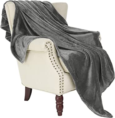 "Exclusivo Mezcla Large Flannel Fleece Velvet Plush Throw Blanket – 50"" x 70"" (Grey)"