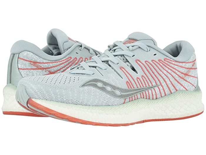 Saucony  Liberty ISO 2 (Sky Grey/Coral) Womens Running Shoes