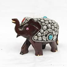 eCraftIndia Wooden Elephant Coated with Silver and Blue Stone