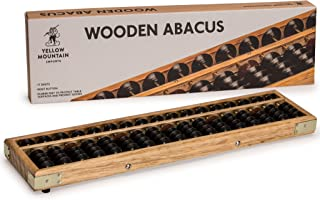 Yellow Mountain Imports Vintage Style Wooden Abacus -13.9 Inches - Professional 17 Column Soroban Calculator with Reset Button