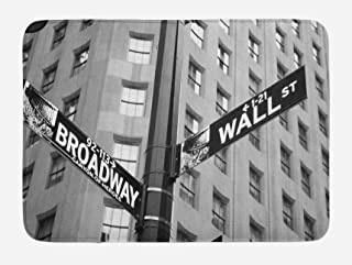 Ambesonne New York Bath Mat, Street Signs of Intersection of Wall Street and Broadway Finance Destinations, Plush Bathroom Decor Mat with Non Slip Backing, 29.5