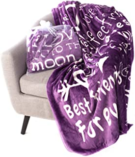 """Blankiegram I love You Throw Blanket  The Perfect Caring Gift for Best Friends, Couples & Family, Purple, 50"""" x 60"""""""
