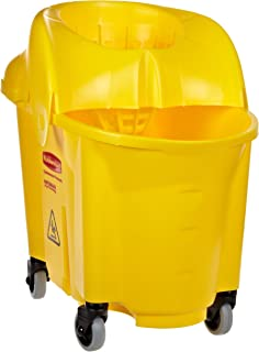 Rubbermaid Commercial WaveBrake Mop Bucket and Sieve Wringer Combo, Institutional, 35-Quart, Yellow, FG757900YEL