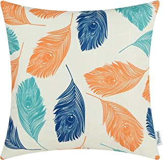 CaliTime Canvas Throw Pillow Cover Case for Couch Sofa Home Decoration Peacock Feathers 20 X 20 Inches Orange Turquoise Blue